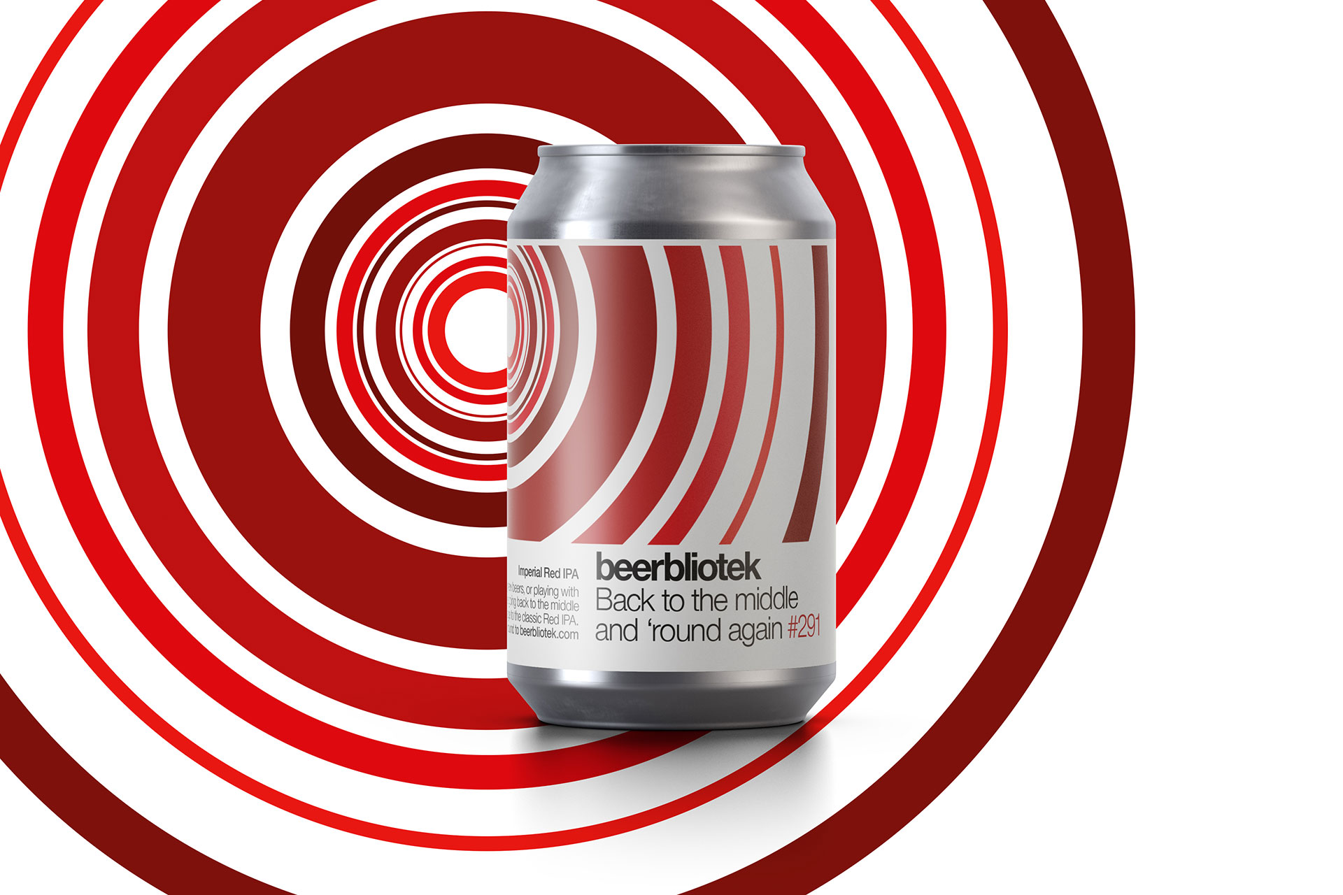 A marketing can packshot of Back to the middle and 'round again, a design for a Red IPA done by Darryl de Necker for Swedish Craft Brewery Beerbliotek.