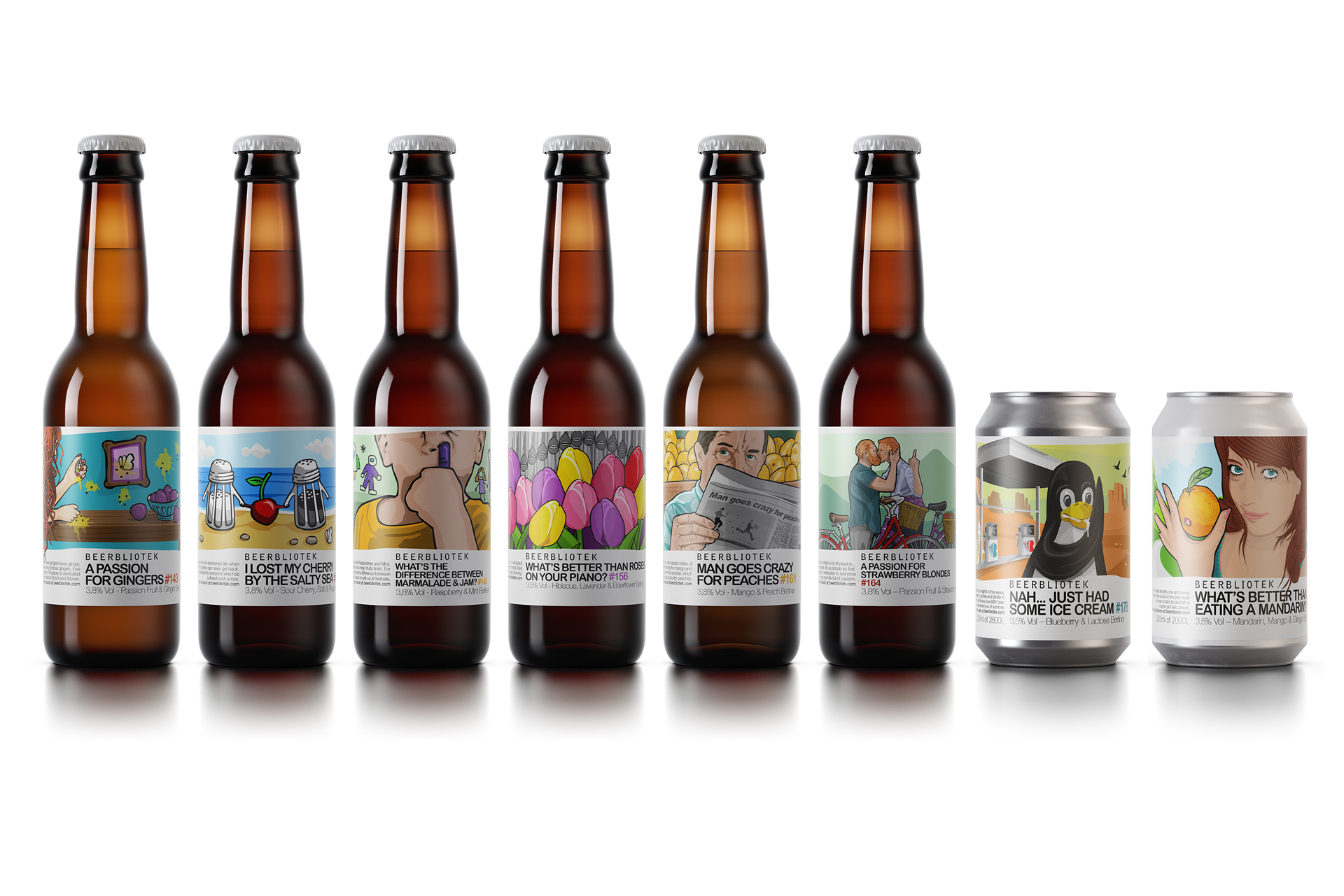The Beerbliotek Berliner Weisse Range with illustrations. Bottles and cans.