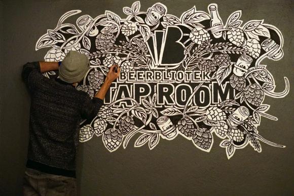 Beerbliotek Tap Room Mural
