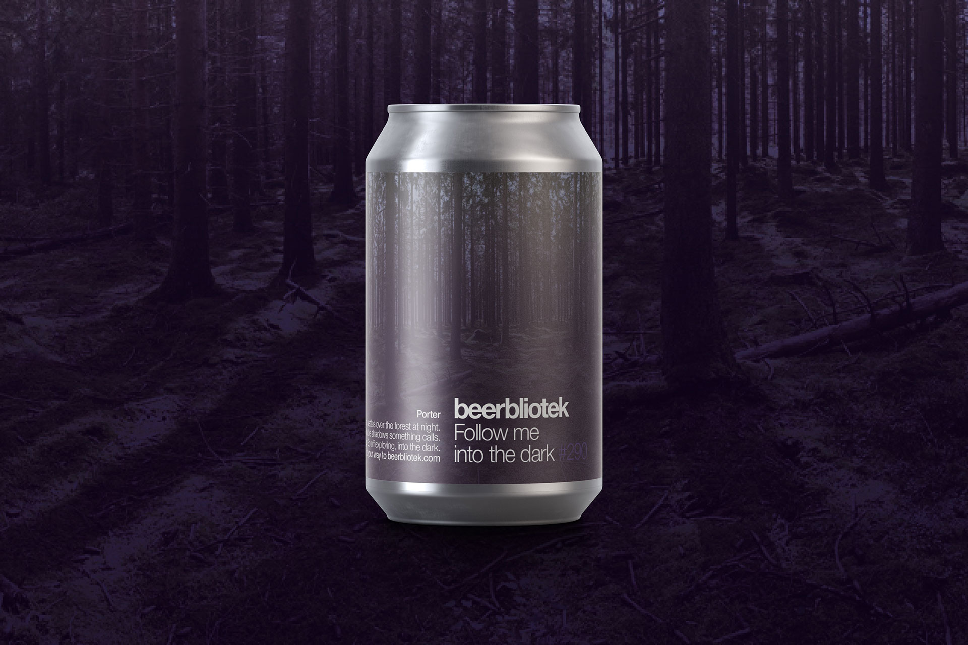 A can packshot of Follow me into the dark. A label designed by Darryl de Necker for Swedish Craft Brewery Beerbliotek.