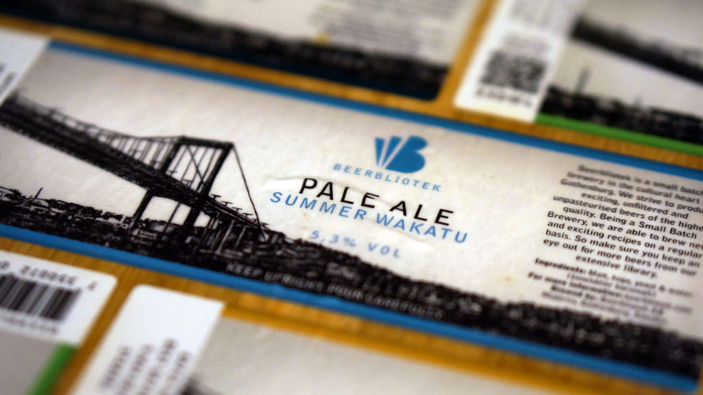"A label of ""Pale Ale"", craft beer brewed by Beerbliotek in Gothenburg, Sweden."