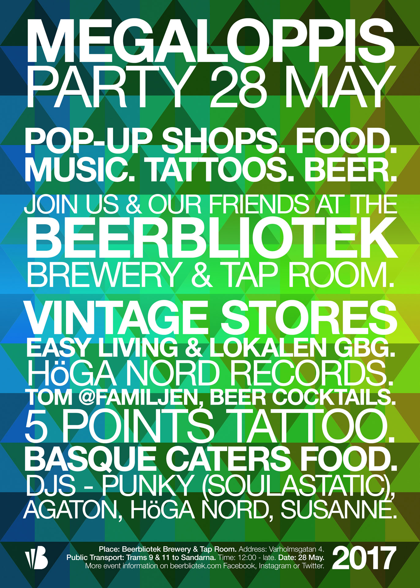 Beerbliotek Megaloppis Party 2017 poster, containing all the names of the companies that we take part in the day.