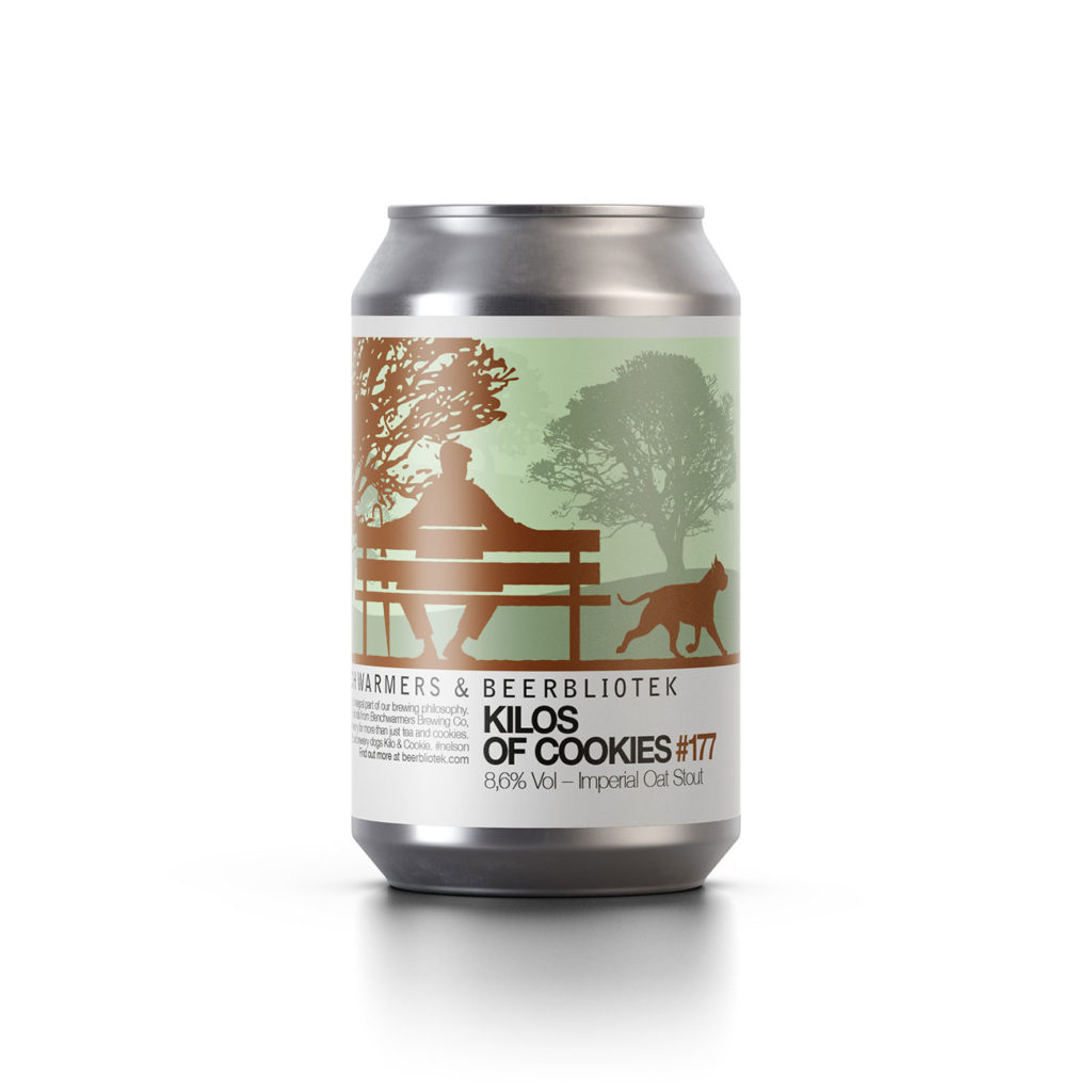 "A can of Oat Stout called ""Kilos of Cookies"", a collaboration brewed by Beerbliotek and Benchwarmers Brewing Co."