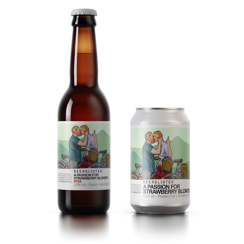 """A bottle and can of Beerbliotek Berliner Weisse """"A Passion for Strawberry Blondes""""."""