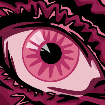 "An illustration of an eye for a beer by Beerbliotek Craft Brewery called, ""Alternative Fact. Beetroot is the new hops""."