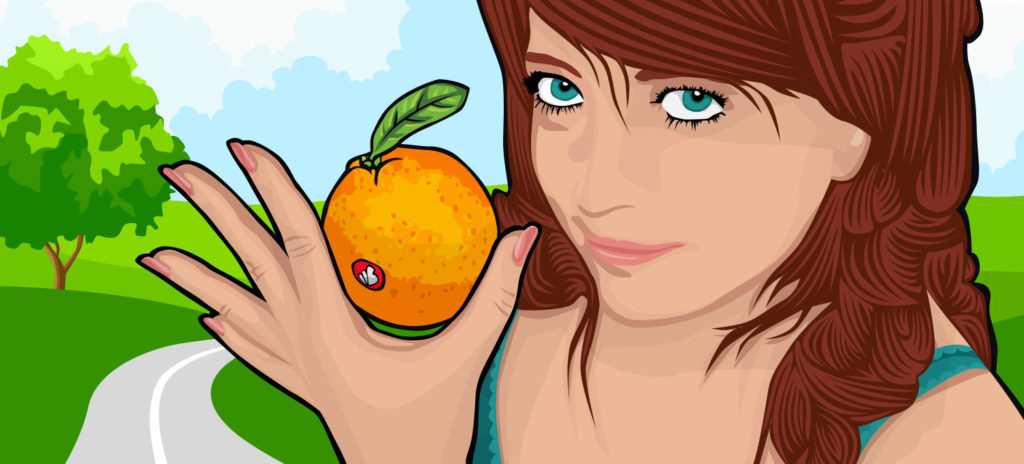 An illustration of a woman holding a Mandarin for a Berliner Weisse beer from Beerbliotek Craft Brewery. What's better than eating a Mandarin?