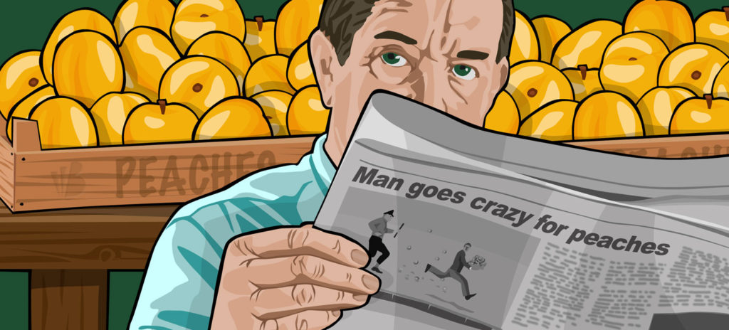 An illustration of a man reading a newspaper for a Berliner Weisse beer from Beerbliotek Craft Brewery. Man goes crazy for peaches.