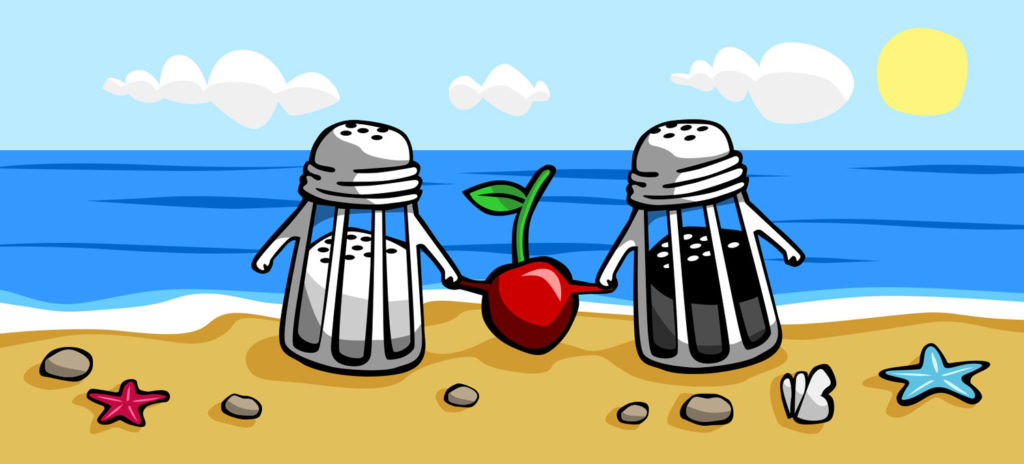 An illustration of a salt and pepper shaker on a beach for a Berliner Weisse beer from Beerbliotek Craft Brewery. I Lost my cherry by the salty sea.