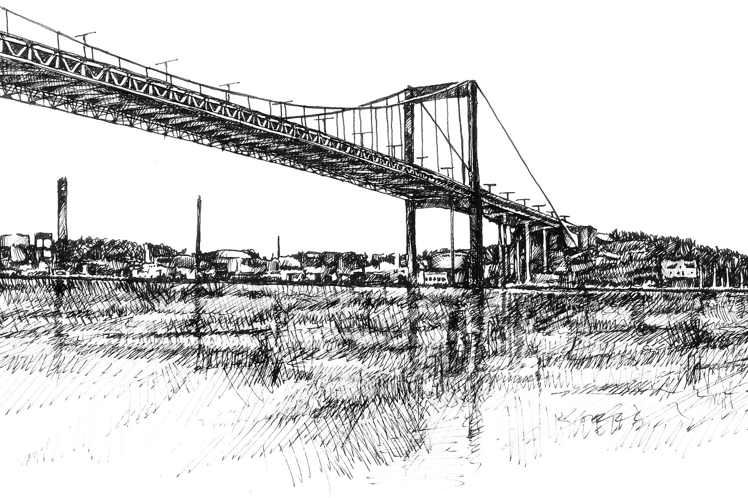 An illustration of the Älvsborgs Bridge in Gothenburg that appears on the labels of Beerbliotek Craft Brewery's first generation labels.
