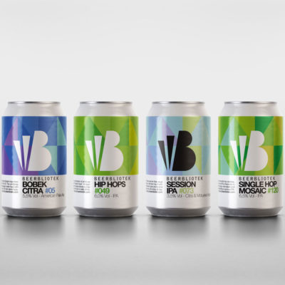 Four cans of Beerbliotek Craft Beer. Packshots of four standard beers.
