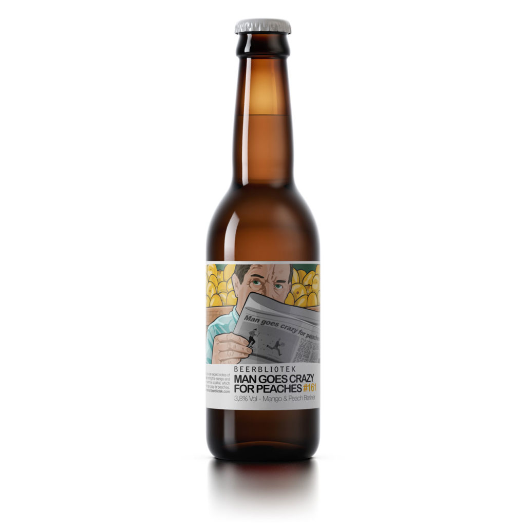 "A bottle of Beerbliotek Berliner Weisse ""Man goes crazy for Peaches""."