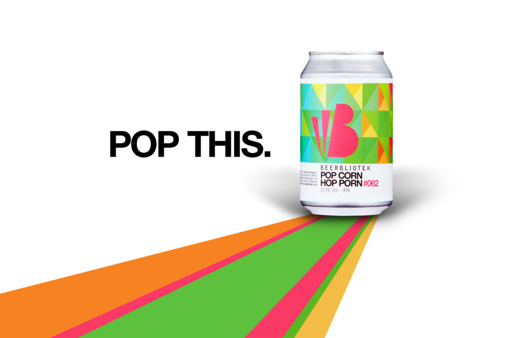 "A poster for Beerbliotek Craft Brewery's popular IPA ""Pop Corn Hop Porn"", with the words ""Pop This"""