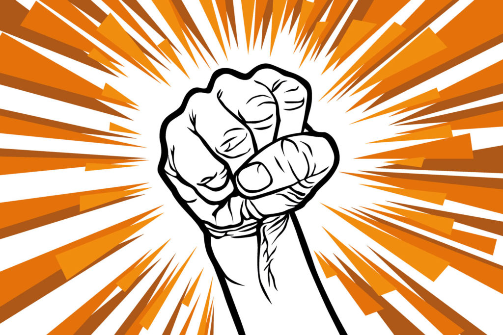 An illustration of a fist shaking angrily, done for a Cascadian Dark Ale with Orange Peel, for Beerbliotek.