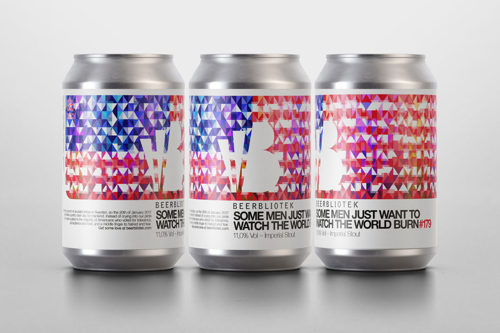 "Three cans (Packshots) of Beerbliotek craft beer, for their Chilli Imperial Stout called ""Some men just want to watch the world burn""."