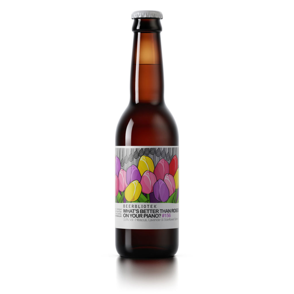 "A bottle of Beerbliotek Berliner Weisse ""What's better than roses on your piano?"""