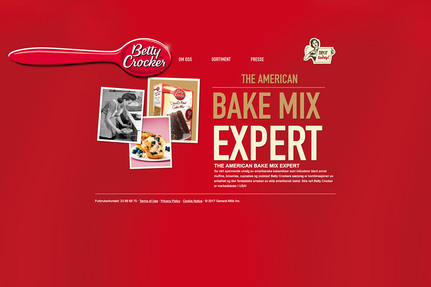 Betty Crocker Norway Website.