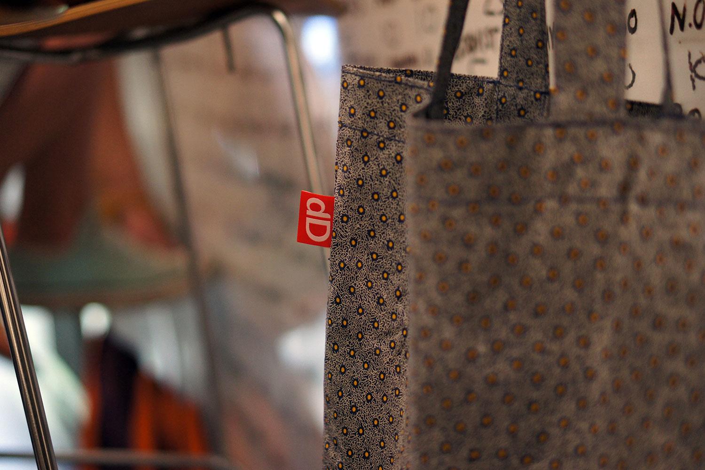 A Shweshwe designer bag, designed by Darryl de Necker for Darryl Design.