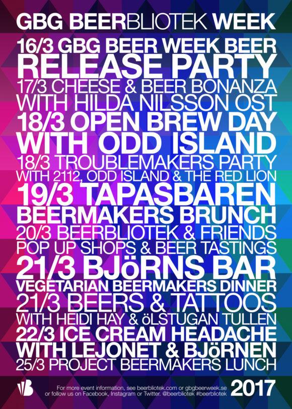 The official Beerbliotek GBG Beer Week events poster for 2017.